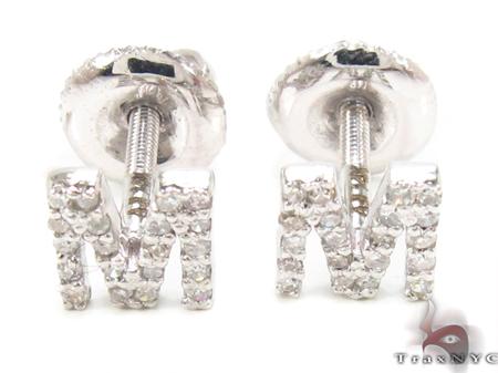 Prong Diamond Initial 'M' Earrings 32647 Stone