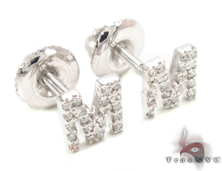 Prong Diamond Initial 'M' Earrings 32647 Stone