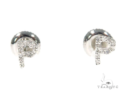 Prong Diamond Initial 'P' Earrings 32650 Stone