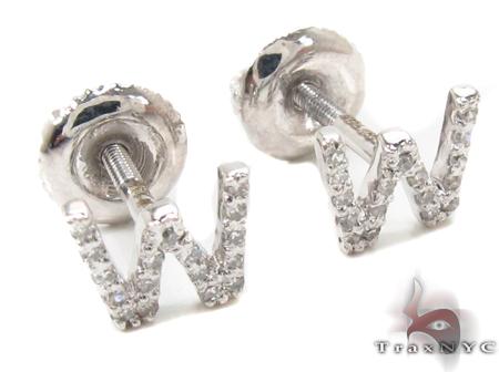 Prong Diamond Initial \'W\' Earrings 32655 Stone