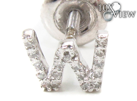 Prong Diamond Initial 'W' Earrings 32655 Stone