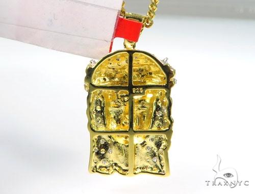 Prong Diamond Jesus Pendant Chain Set 44668 Metal