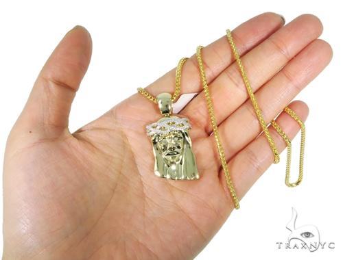 Prong Diamond Jesus Pendant Franco Chain Set 45312 Style