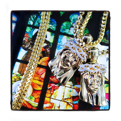 Prong Diamond Jesus Pendant Franco Chain Set 45312 Style