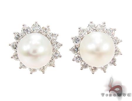 Prong Diamond Pearl Earrings 32064 Stone