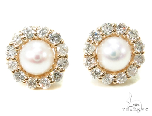 Prong Diamond Pearl Earrings 36949 Stone