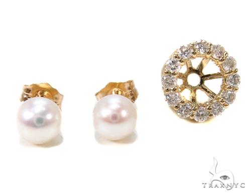 Prong Diamond Pearl Earrings 36949 Stone
