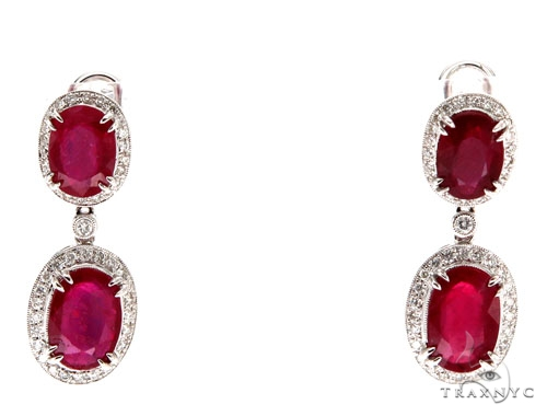 Prong Diamond Ruby Earrings Stone
