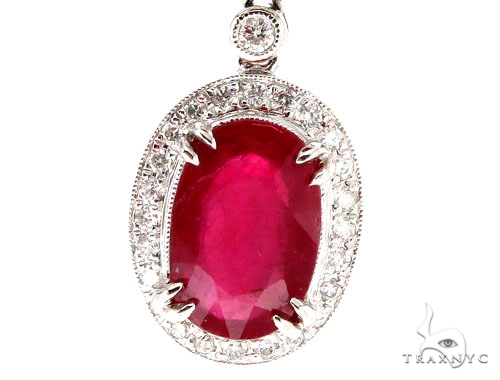 Prong Diamond Ruby Earrings Stone