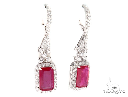 Prong Diamond Ruby Earrings 42427 Stone