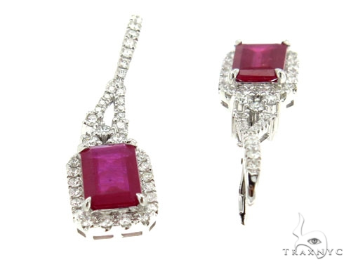 Prong Diamond Ruby Earrings 42427 Stone