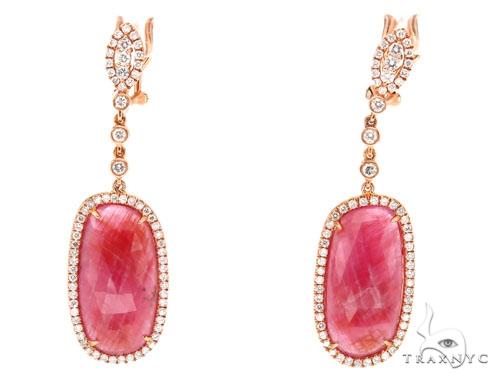 Prong Diamond & Pink Sapphire Earrings 42422 Stone