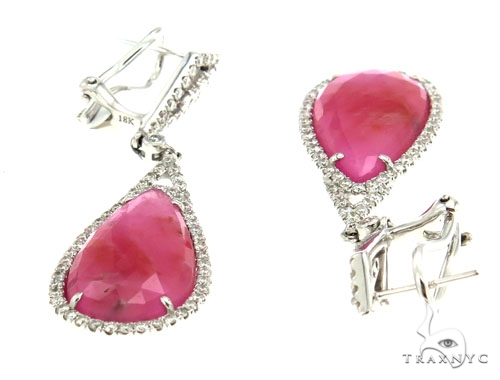 Prong Diamond & Pink Sapphire Earrings 42423 Stone