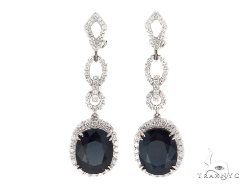 Prong Diamond & Sapphire Earrings 42433 Stone