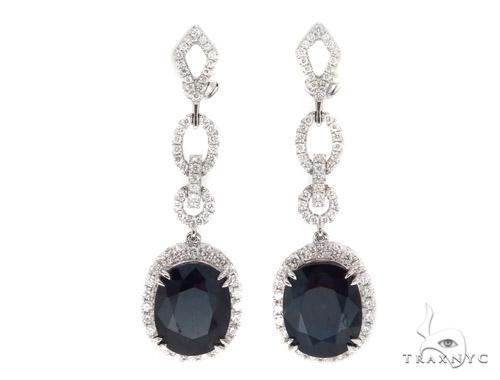 Prong Diamond & Sapphire Earrings 42433 Stone