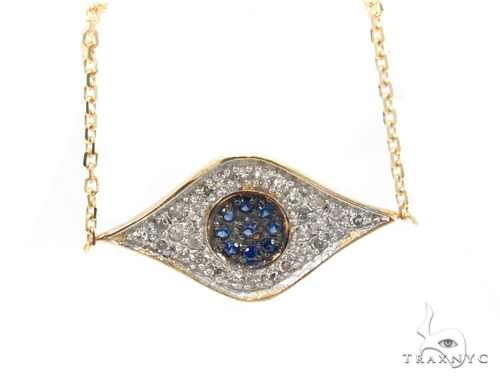 Prong Diamond & Sapphire Necklace 35270 Gemstone
