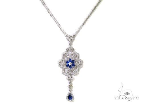 Prong Diamond Sapphire Gemstone Necklace 37979 Gemstone