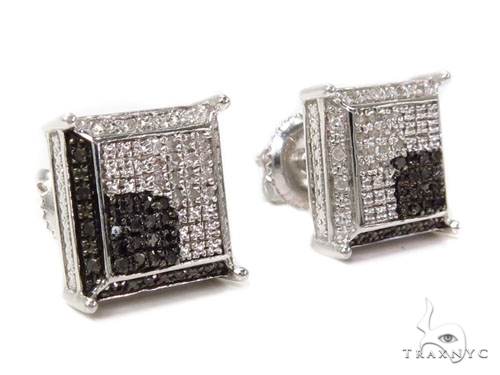 Prong Diamond Silver Earrings 40255 Metal