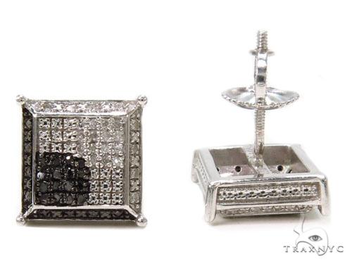 Prong Diamond Silver Earrings 40255 Metal