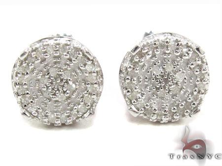 Prong Diamond Silver Earrings 30764 Metal