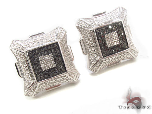 Prong Diamond Silver Earrings 34098 Metal
