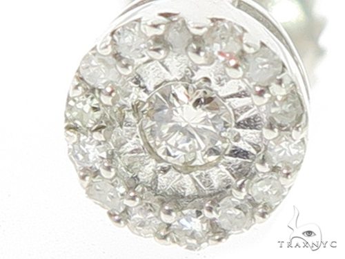 Prong Diamond Silver Earrings 44046 Metal