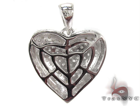 Prong Diamond Silver Pendant 30757 Metal
