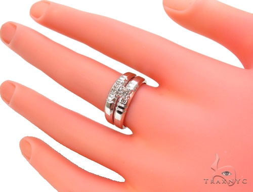 Prong Diamond Silver Ring Set 36832 Anniversary/Fashion