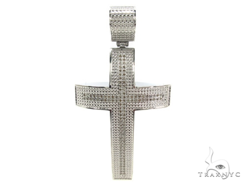 Prong Diamond Stainless Steel Cross 35368 Stainless Steel Cross Pendants