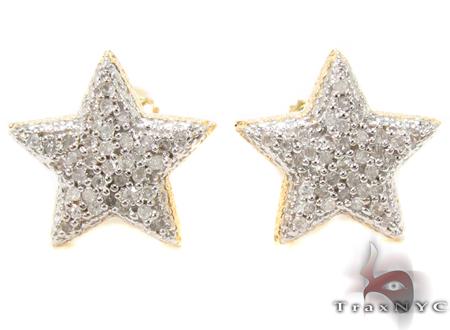 Prong Diamond Star Silver Earrings 31151 Metal