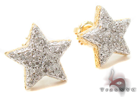 Prong Diamond Star Silver Earrings 31151 Metal
