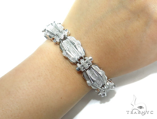 Prong Diamond Sterling Silver Bracelet 41780 Silver