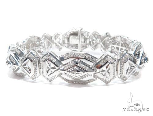 Prong Diamond Sterling Silver Bracelet 41781 Silver