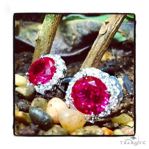 Prong Diamond Ruby Earrings 40333 Stone
