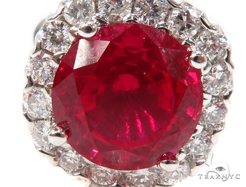 Prong Diamond Ruby Earrings 40333 Stone
