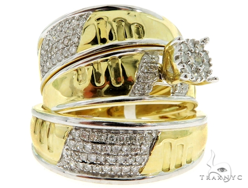 Prong Diamond Wedding Rings Set 56904 エンゲージメント