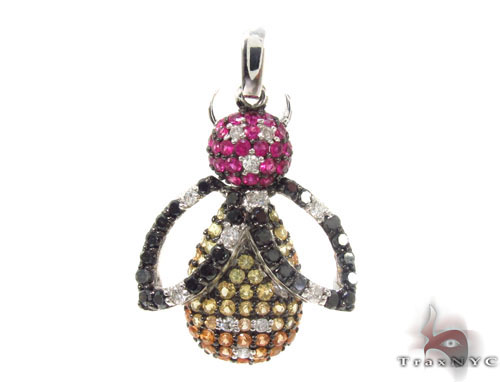 Colored Sapphire & Diamond Bee Pendant 34668 Stone