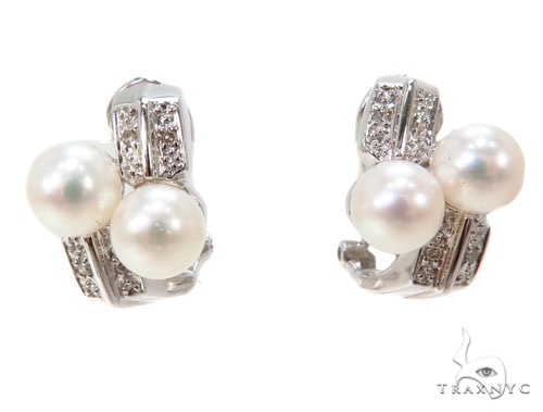 Prong Pearl Diamond Earrings 40798 パール ダイヤモンドイヤリング 真珠