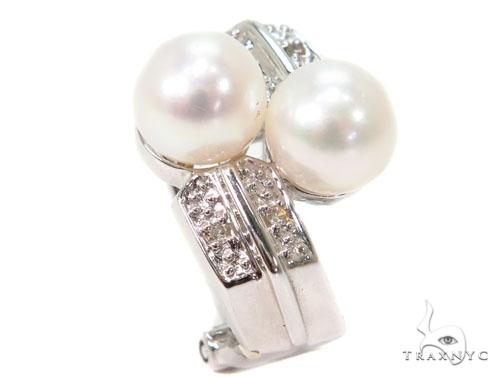 Prong Pearl Diamond Earrings 40798 Stone