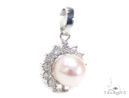 Prong Pearl Diamond Pendant 40938 Stone