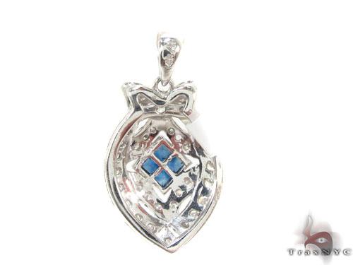 Prong square Sapphire & Diamond Pendant 34661 Stone
