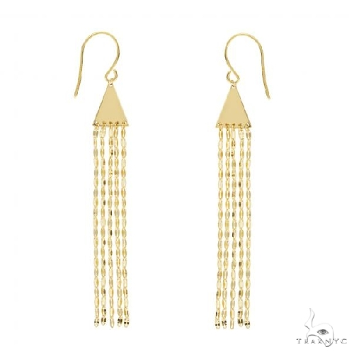 Pyramid Hammered Forzentina Fringe Drop Earrings 14k Yellow Gold Metal