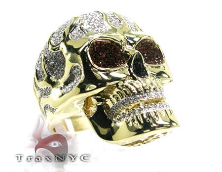 skull ring mens ring yellow gold 10k