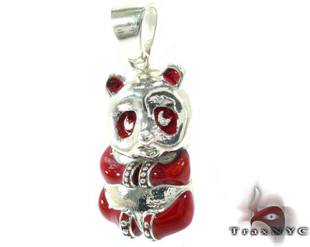 Red Enamel Panda Pendant Metal