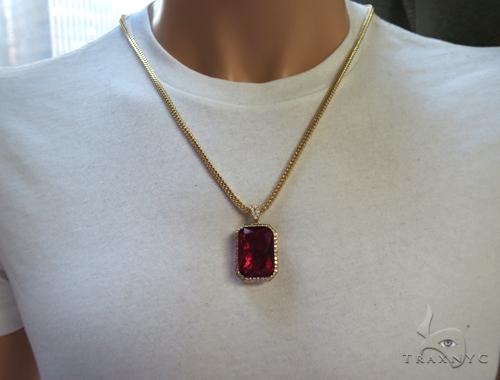 Red Lotus Gold Pendant 49584 Metal