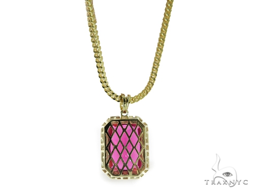 Red Lotus Gold Pendant and Franco Chain Set 49583 Metal