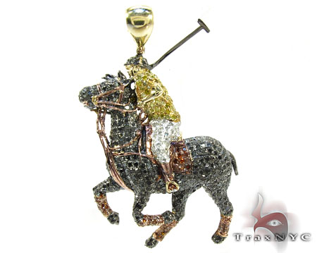 Rider Horse Diamond Pendant Metal