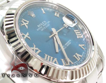 Rolex Datejust II Blue Steel & White Gold 116334 Diamond Rolex Watch Collection