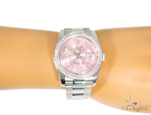 Rolex Date Just Floral Pink Steel 116200 44758 Rolex Collection