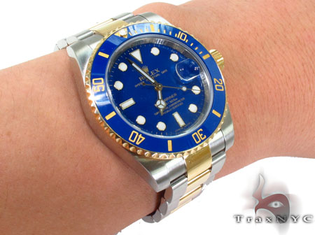 Rolex Submariner Gold and Steel 116613 blu Diamond Rolex Watch Collection